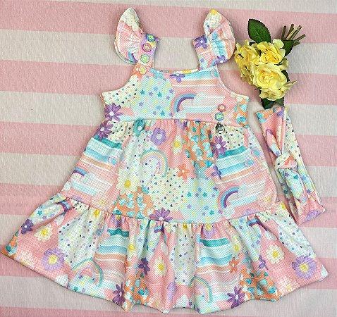 Vestido Infantil Menina Arco-íris - Kiki Xodó