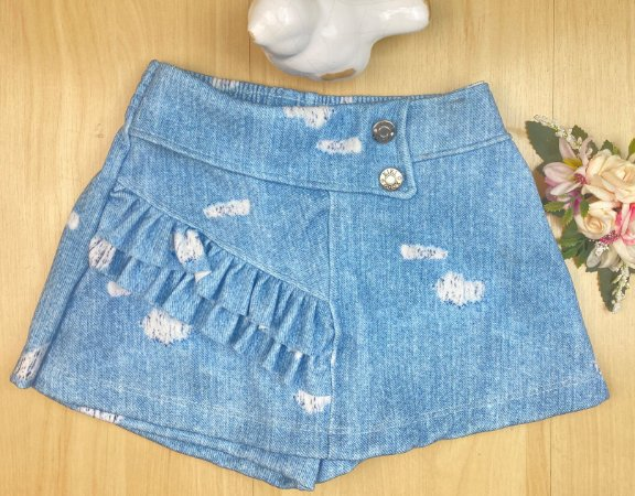 Shorts Saia Infantil Menina Azul Nuvem - Kiki Xodó