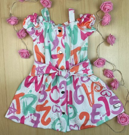 Vestido Infantil Menina de Letrinhas - Kiki Xodó
