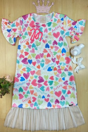 Vestido Infantil Menina os Corações - Kiki Xodó