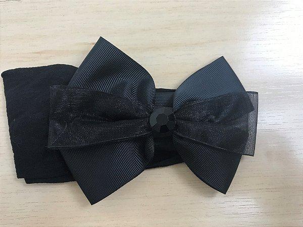 Faixa Laço 11 cm, gorgurão e voal, preto