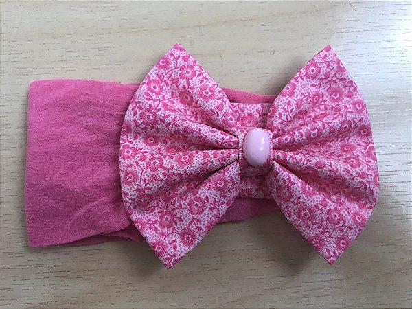 Faixa Laço 11 cm, tecido florzinha, rosa