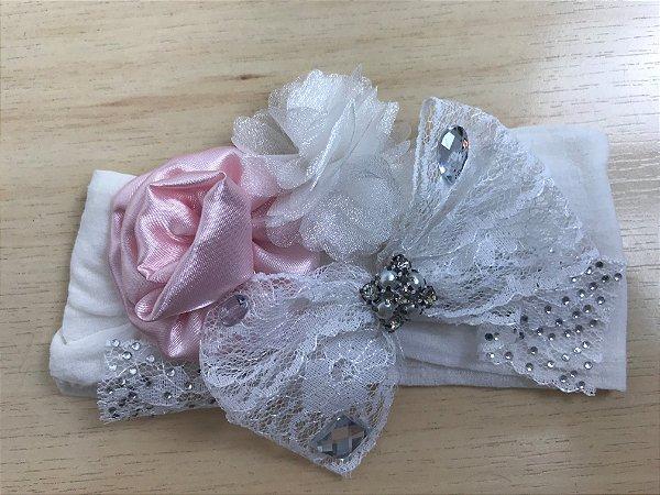 Faixa laço 11 cm, renda, cetim e voal, branco e rosa