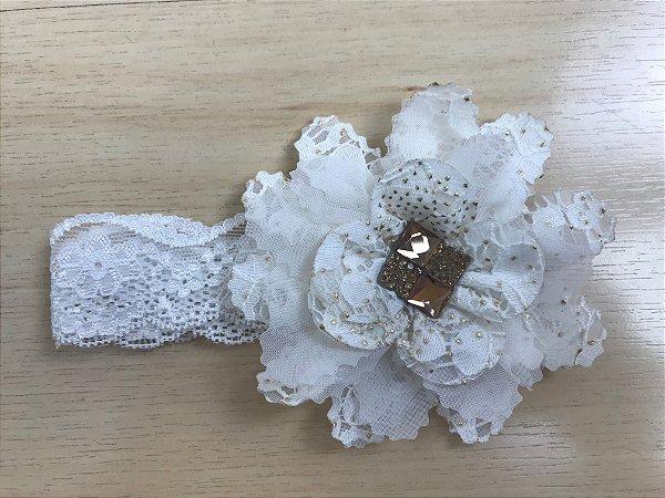 Faixa Flor 10 cm, renda e brilhos, off