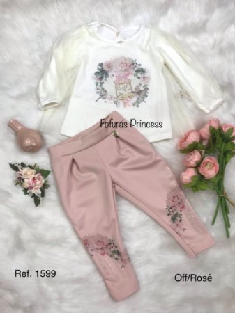 Conjunto Blusa e Calça, tule e flores, Infantil, Kiki Xodó