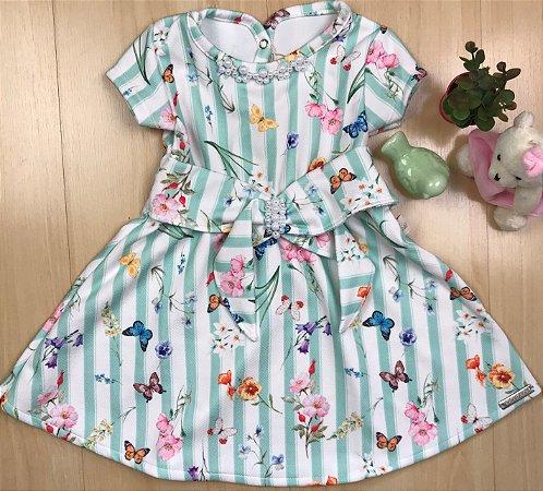 Vestido Infantil Laço e Borboletas - Kiki Xodó