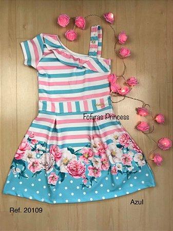 Vestido Verão Infantil Listras, Flores e Poá - AleKids