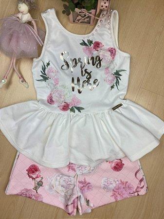 Conjunto Infantil Verão Rosa - Kiki Xodó