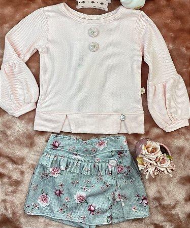 Conjunto Infantil Menina Rosas Azuis - Kiki Xodó