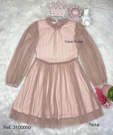 Vestido Infantil Menina Rosinha - Kiki Xodó