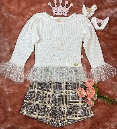 Conjunto Infantil Menina Babados e Corações - Kiki Xodó