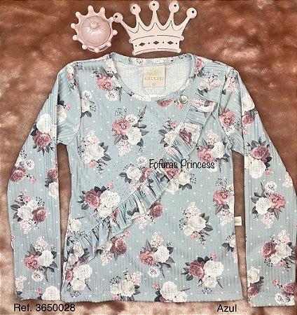 Blusa Infantil Flores e Babados - Kiki Xodó