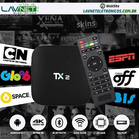 CONVERSOR SMART Tanix Tx2 4k 2GB Ram 16GB Dual Band 5G BT 4.0 Android 8.1