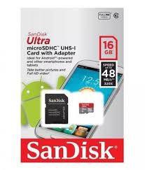 Cartao Micro SD Ultra Classe 10 16GB Micro SDHC Classe 10 Com Adaptador-Sandisk