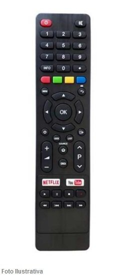 CONTROLE REMOTO TV SMART PHILCO/BRITANIA NETFLIX E YOUTUBE 9005
