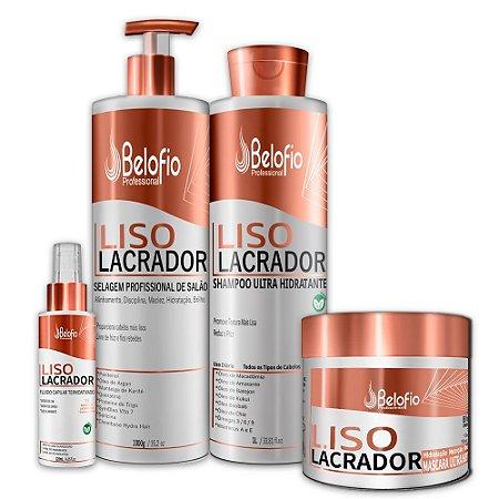 Kit Liso Lacrador Alisante Profissional 1000g, Máscara 500g, Shampoo 1 litro e Finalizador 120ml Belofio