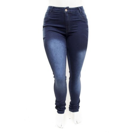 Calça Jeans Feminina Plus Size Cintura Alta Azul Thomix