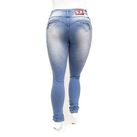 Calça Jeans Clara Feminina Plus Size Cintura Alta Cheris Levanta Bumbum