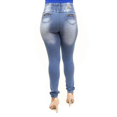 Calça Jeans Feminina Azul Manchada com Elástico Credencial Levanta Bumbum