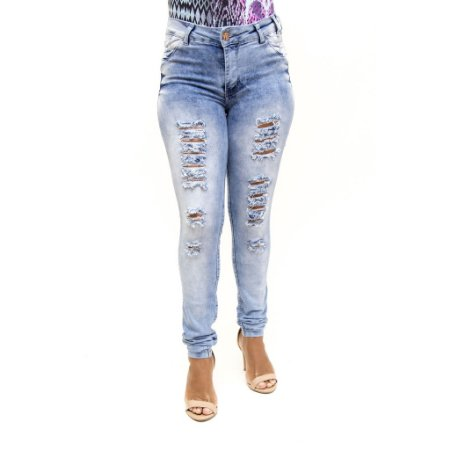 Calça Jeans Feminina Rasgadinha Manchada Cheris Levanta Bumbum