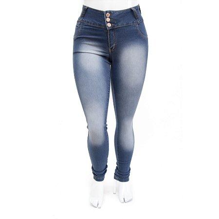 Calça Jeans Plus Size Feminina Credencial com Lavagem Manchada