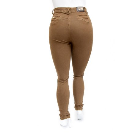 Calça Jeans Plus Size Feminina Marrom Hot Pants Cheris
