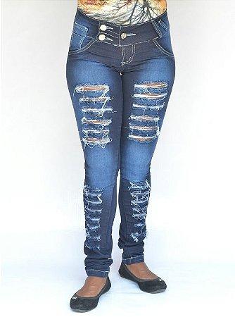 Calça Jeans Feminina Deerf Rasgada com Elastano