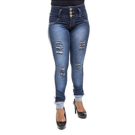 Calça Jeans Feminina Rasgadinha Thomix Levanta Bumbum