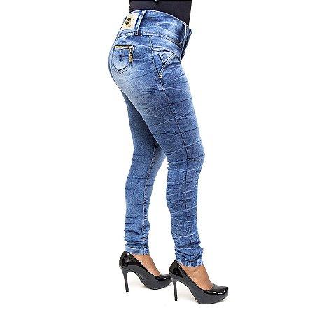 Calça Jeans Feminina Manchada Cheris Levanta Bumbum