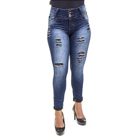 Calça Jeans Cropped Feminina Rasgadinha Credencial