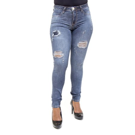 Calça Ri19 Jeans Feminina Rasgadinha Hot Pants Cintura Alta