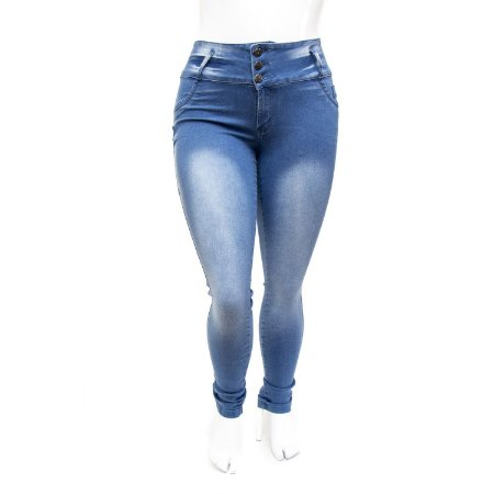 Calça Jeans Plus Size Feminina Azul Cintura Alta Thomix