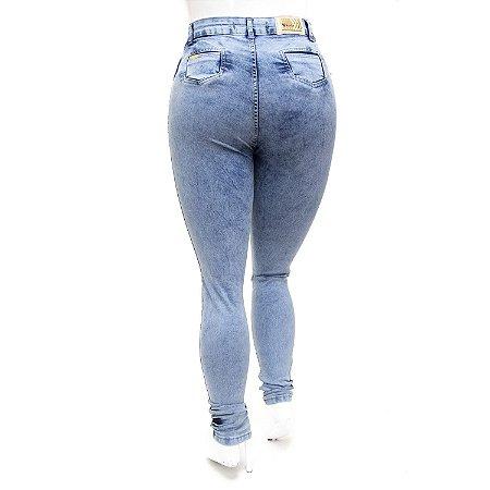 Calça Jeans Plus Size Feminina Hot Pants Manchada Cheris