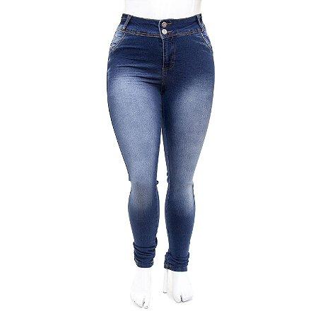 Calça Jeans Plus Size Azul Escura Feminina Credencial com Elastano