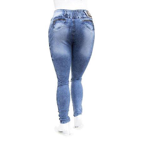 Calça Jeans Plus Size Feminina Manchada Helix com Elástico