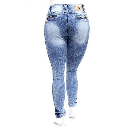 Calça Jeans Feminina Plus Size com Lycra Manchada Cheris