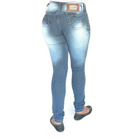Calça Jeans Legging Escura Levanta Bumbum com Elastano