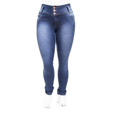 Calça Jeans Plus Size Feminina Azul Escura Helix Cintura Alta