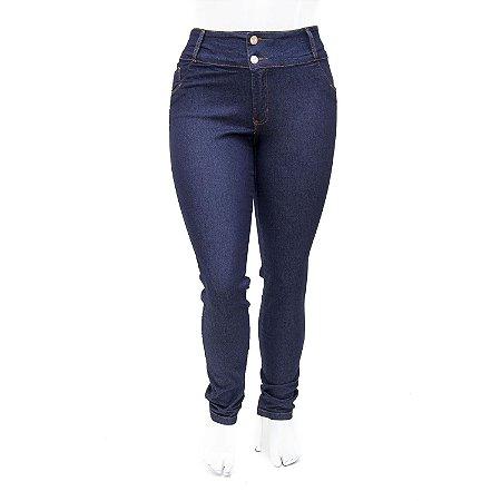 Calça Jeans Feminina Plus Size Azul Marinho Helix Cintura Alta
