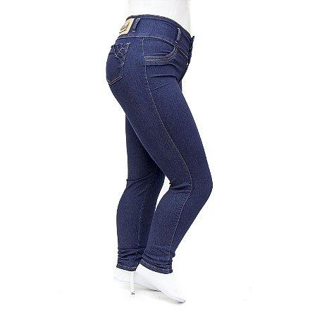 Calça Plus Size Jeans Feminina Azul Marinho Cintura Alta Thomix