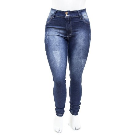 Calça Jeans Feminina Plus Size Hot Pants Escura Cheris