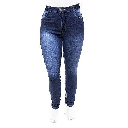 Calça Jeans Feminina Plus Size Azul Escura Cheris com Lycra