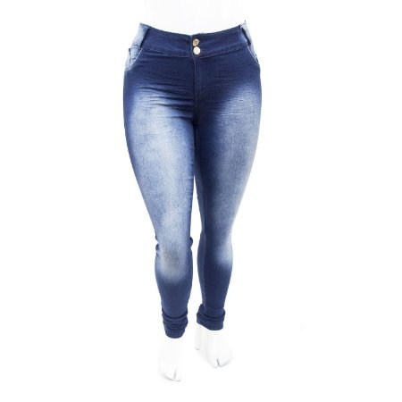 Calça Jeans Plus Size Feminina Azul Manchada Credencial com Lycra