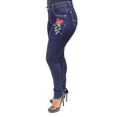 Calça Jeans Feminina Hot Pants Escura Cheris com Lycra