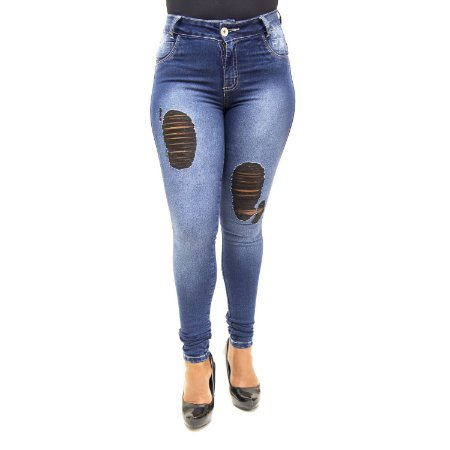Calça Jeans Feminina Rasgadinha Cropped Credencial com Lycra