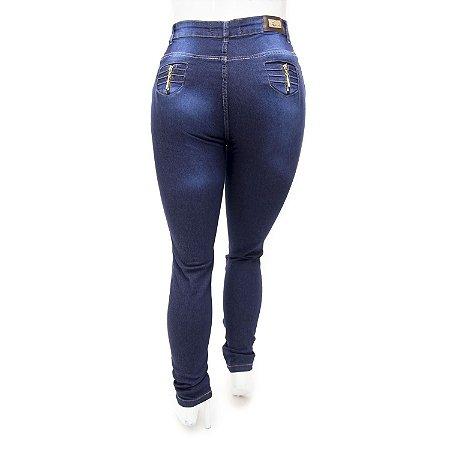 Calça Jeans Plus Size Feminina Azul Escura Cheris Cintura Alta