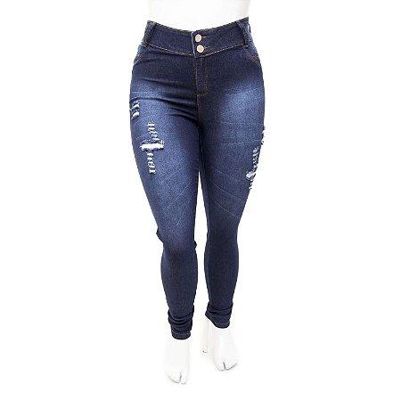 Calça Jeans Plus Size Feminina Rasgadinha Credencial Cintura Alta