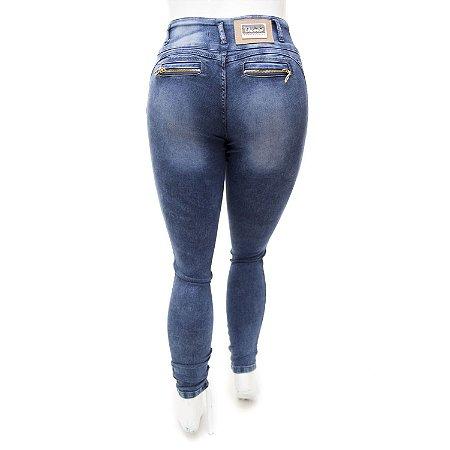 Calça Jeans Plus Size Feminina Manchada Thomix Cintura Alta