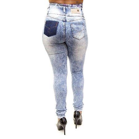 Calça Jeans Feminina Manchada Helix Levanta Bumbum com Lycra