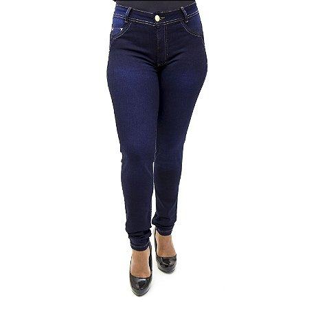 Calça Jeans Feminina Cintura Alta Hot Pants Escura Cheris